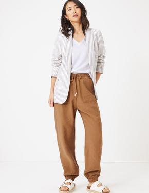 Kadın Kahverengi Tencel™ Utility Tapered Pantolon