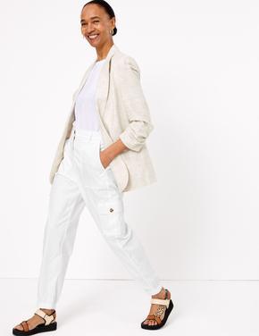 Kadın Beyaz Tencel™ Kargo Pantolon