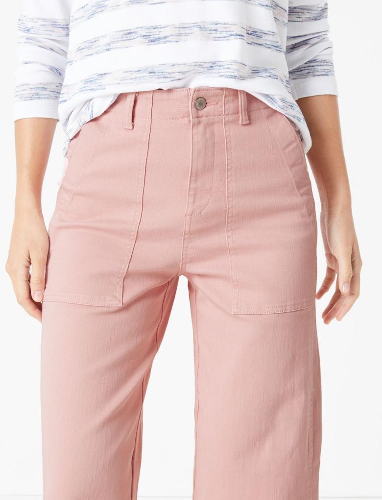 Kadın Pembe Wide Leg Crop Jean Pantolon