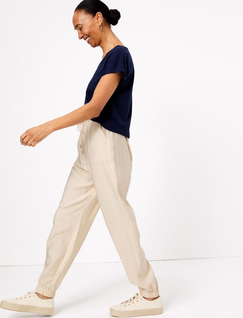 Kadın Bej Tencel™ Utility Tapered Pantolon
