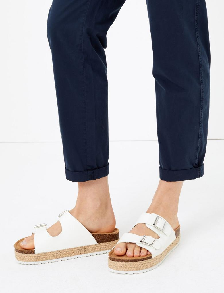 Kadın Lacivert Saf Pamuklu Tapered Fit Pantolon