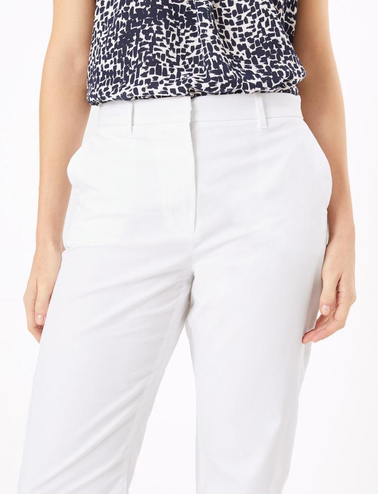 Kadın Beyaz Pamuklu Straight Leg Chino Pantolon