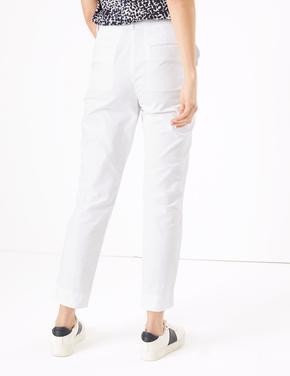 Kadın Beyaz Straight Leg Chino Pantolon