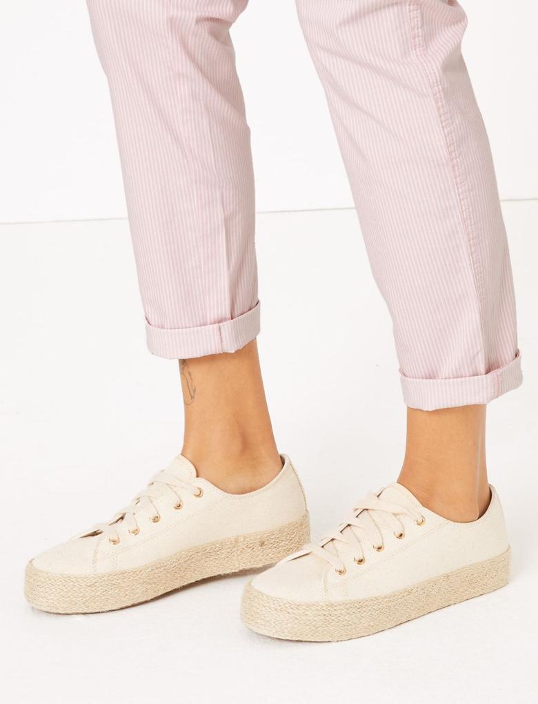 Kadın Pembe Çizgili Tapered Fit Chino Pantolon
