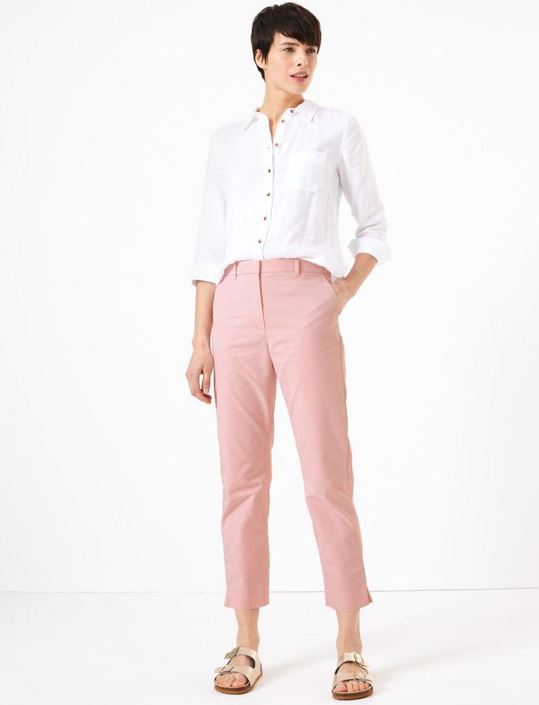 Kadın Pembe Pamuklu Straight Leg Chino Pantolon