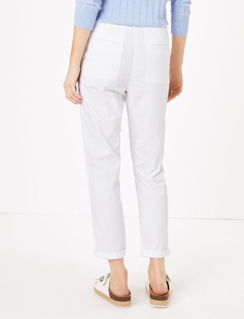 Kadın Beyaz Saf Pamuklu Tapered Fit Pantolon