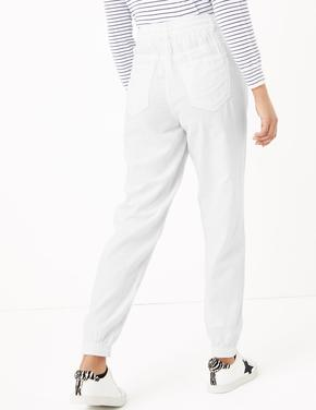 Kadın Beyaz Keten Ankle Grazer Pantolon