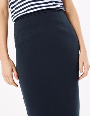 Kadın Lacivert Tailored Fit Kalem Etek