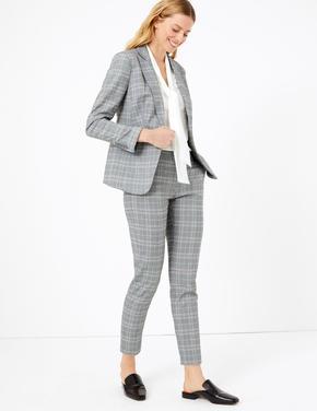 Kadın Gri Ekose Slim Leg Grazer Pantolon