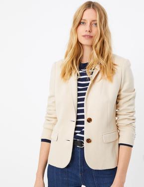 Kadın Bej Özel Dokulu Blazer Ceket