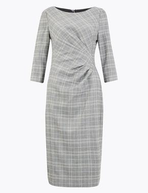 Kadın Gri Ekose Tailored Fit Elbise