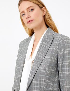 Kadın Gri Ekose Tailored Fit Blazer Ceket