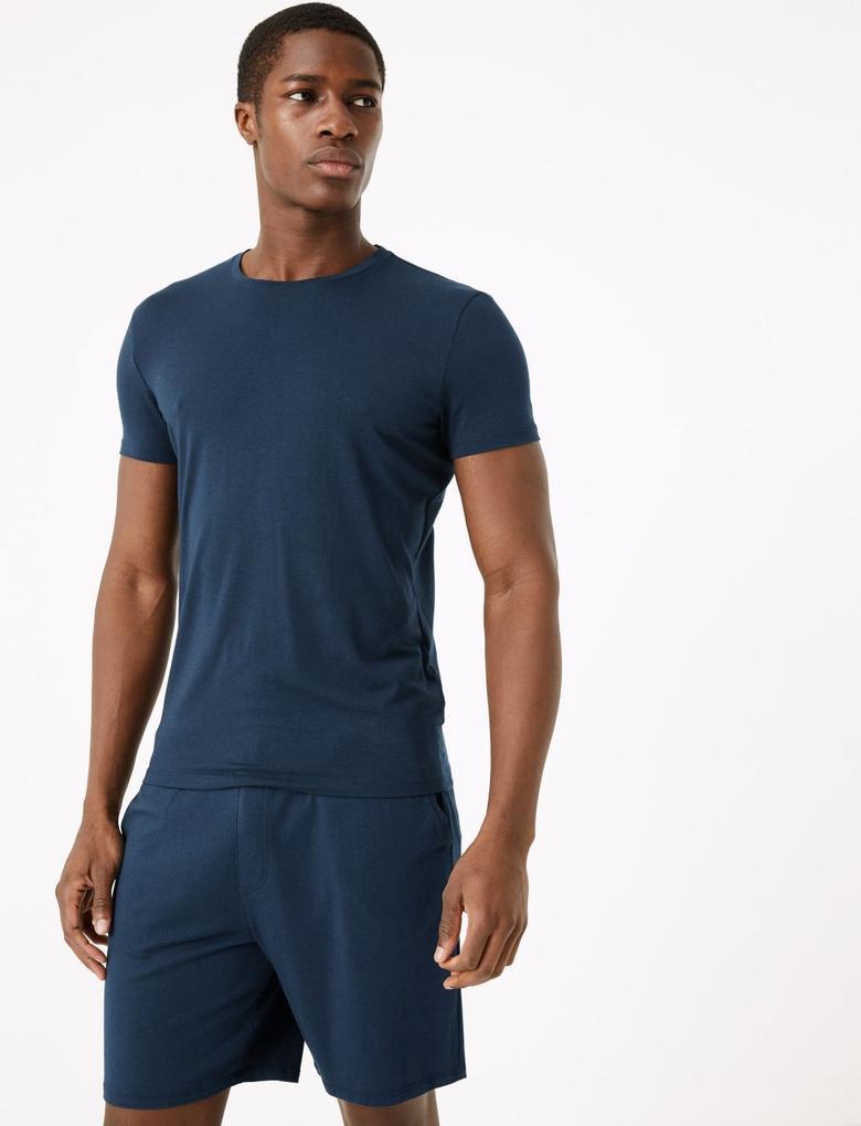 Erkek Lacivert Luxury Supersoft Supima® Şort Pijama Altı