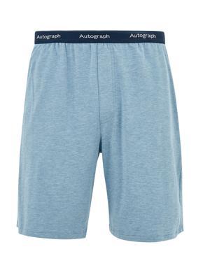 Erkek Mavi Luxury Supersoft Supima® Şort Pijama Altı