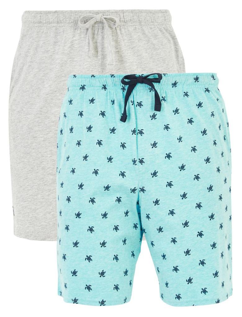 Erkek Mavi 2'li Desenli Şort Pijama Altı Seti