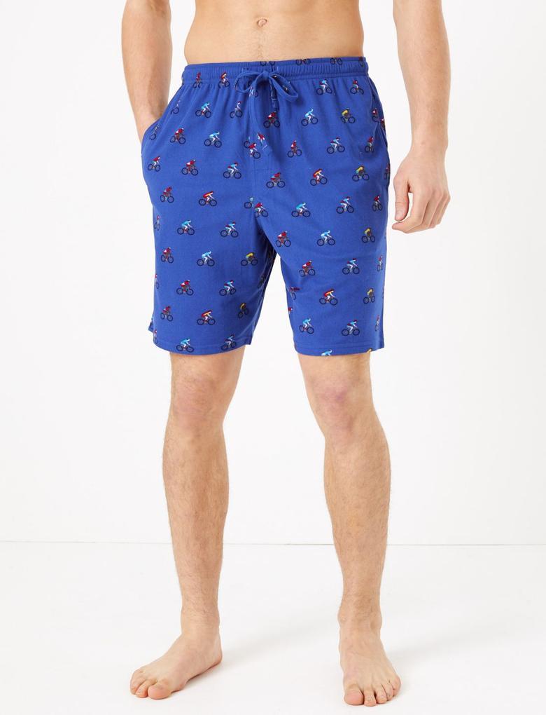 Erkek Mavi Bisiklet Desenli Şort Pijama Altı