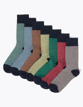 Erkek Bej 7'li Pamuklu Cool & Freshfeet Çorap Seti