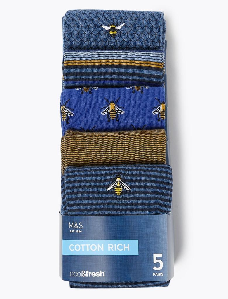 Erkek Mavi 5'li Cool & Fresh™ Çorap Seti