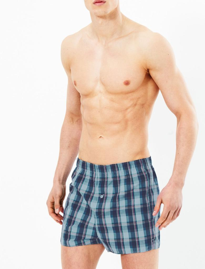 Erkek Multi Renk 3'lü StayNew™ Desenli Boxer Seti