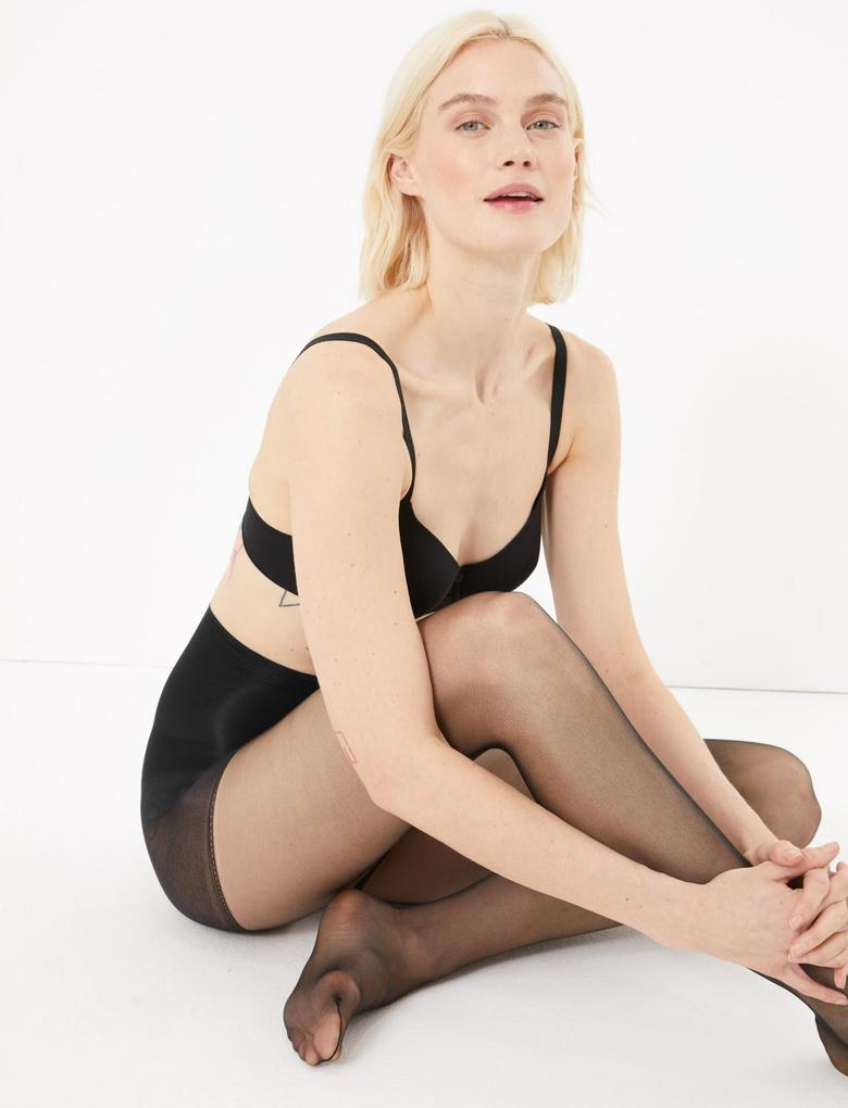 Kadın Siyah 2'li 7 Denye Transparan Külotlu Çorap