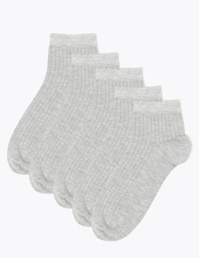 Kadın Gri 5'li Dikişsiz Soket Çorap Seti