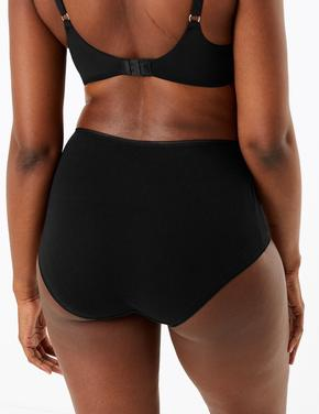 Kadın Siyah 5'li Yüksek Belli Full Brief Külot Seti