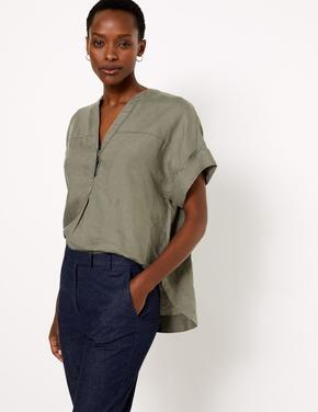 Kadın Yeşil Keten Popover Bluz