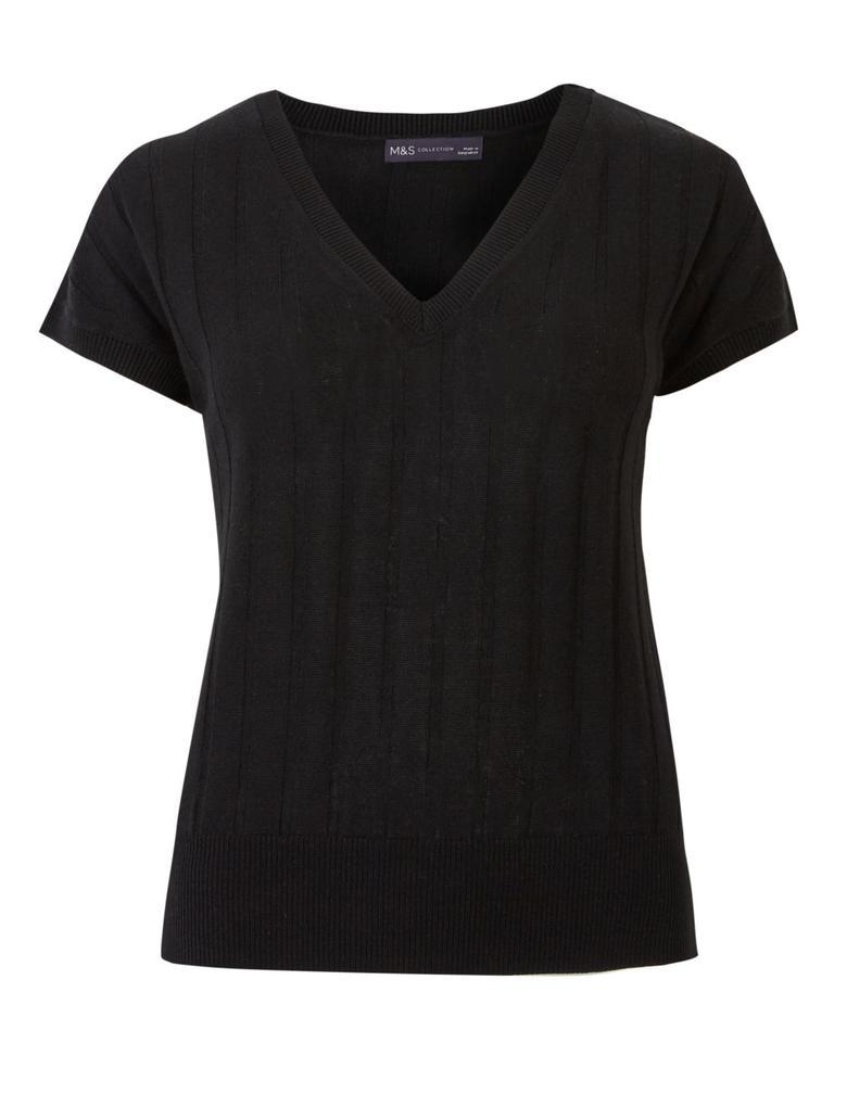 Kadın Siyah Kısa Kollu V Yaka Bluz