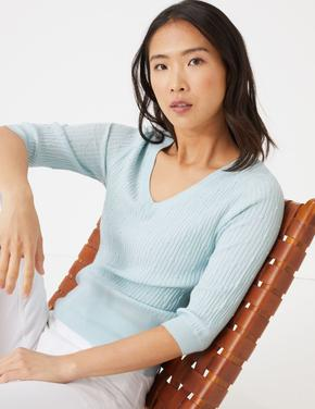 Kadın Mavi Dokulu V Yaka Kazak