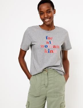 Kadın Gri Sloganlı Straight Fit T-Shirt