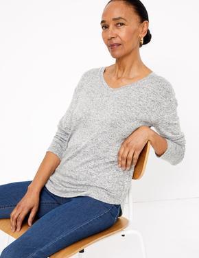 Kadın Gri V Yakalı Uzun Kollu T-Shirt