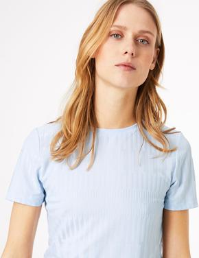 Kadın Mavi Dokulu Kısa Kollu T-Shirt