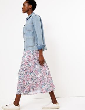Kadın Multi Renk Çiçekli Düğmeli Midi Etek