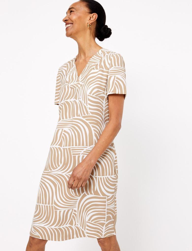 Kadın Bej Desenli V Yakalı Elbise
