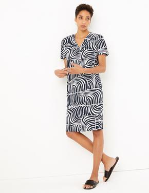Kadın Koyu lacivert Desenli V Yakalı Elbise
