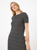 Kadın Siyah Kısa Kollu Desenli Swing Elbise