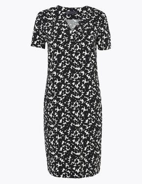 Kadın Siyah Çiçek Desenli Kısa Kollu Shift Elbise
