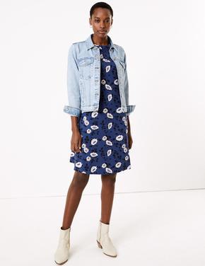 Kadın Mavi Çiçek Desenli Swing Elbise