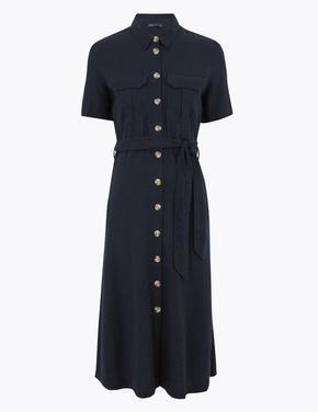Kadın Lacivert Keten Midi Gömlek Elbise