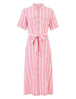 Kadın Pembe Çizgili Keten Gömlek Elbise