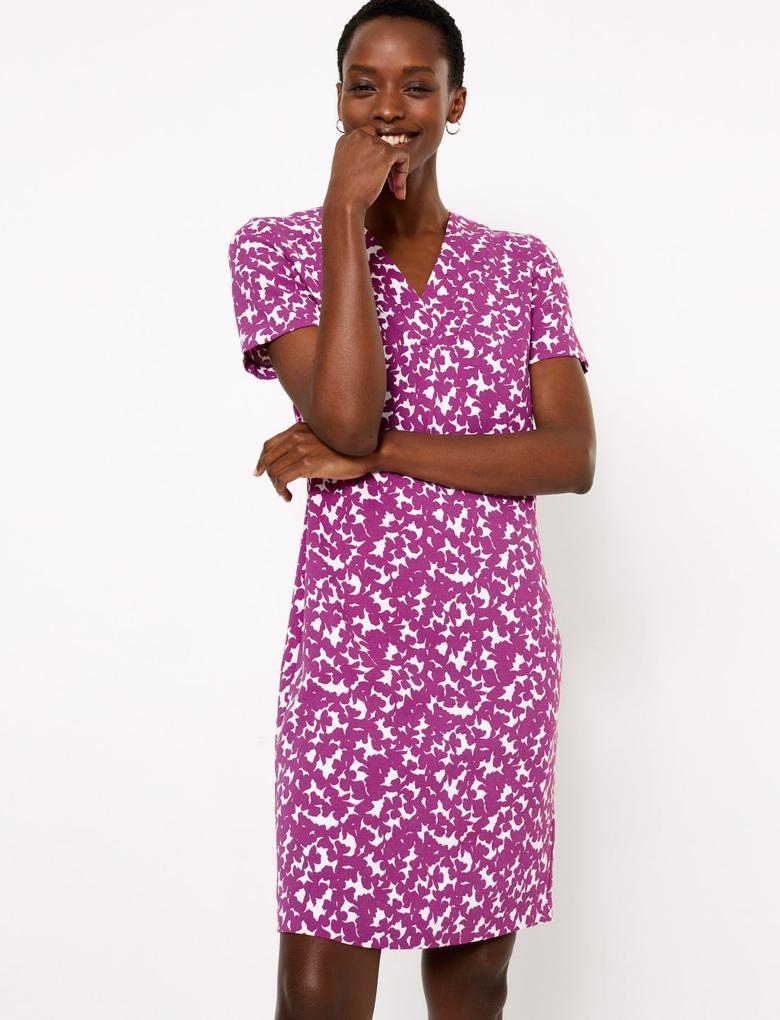 Kadın Mor Çiçek Desenli Kısa Kollu Shift Elbise