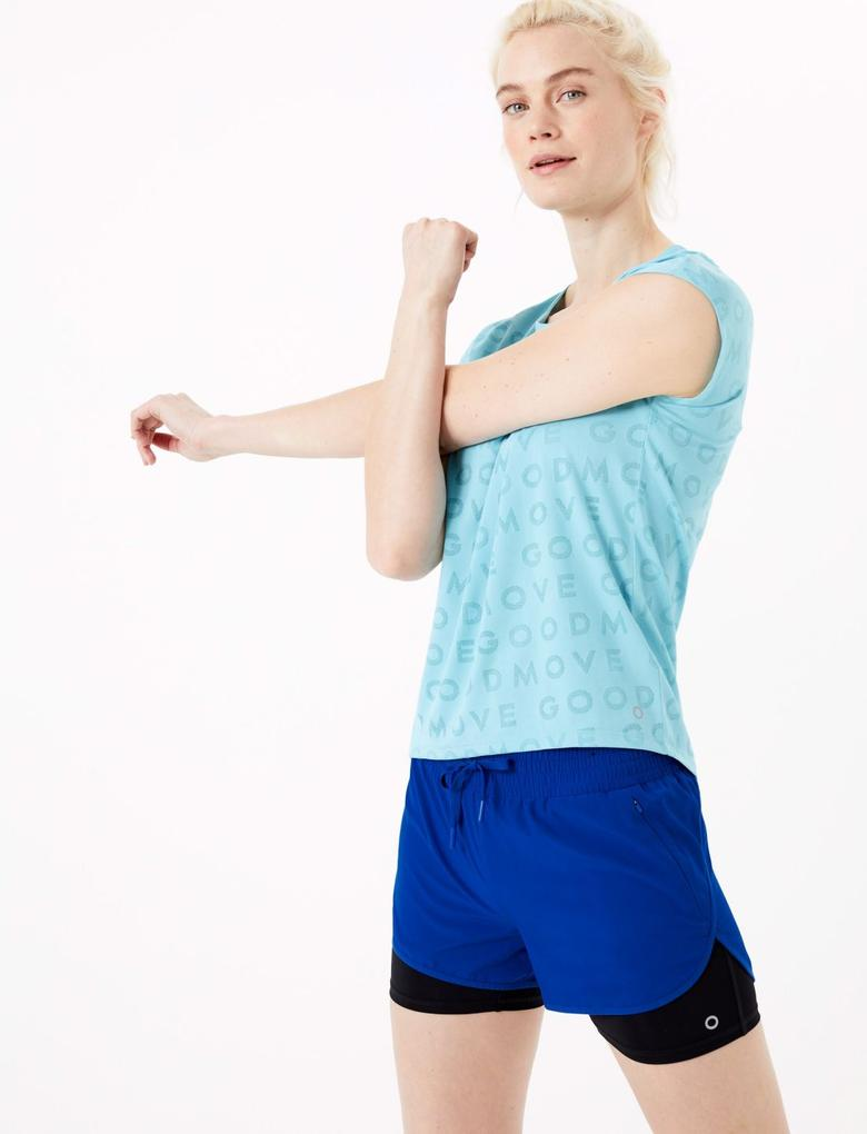 Kadın Mavi Jakarlı Kısa Kollu T-Shirt