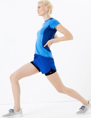 Kadın Lacivert 2 Parça Koşu Şortu