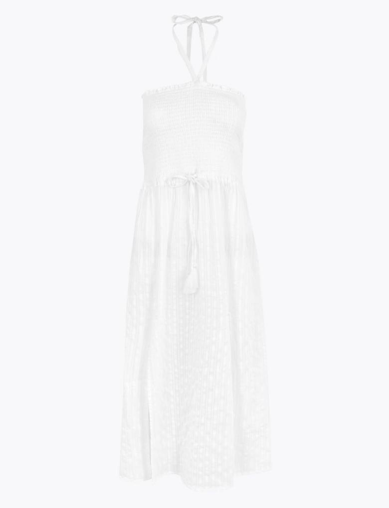 Kadın Beyaz Büzgülü Midi Plaj Elbisesi