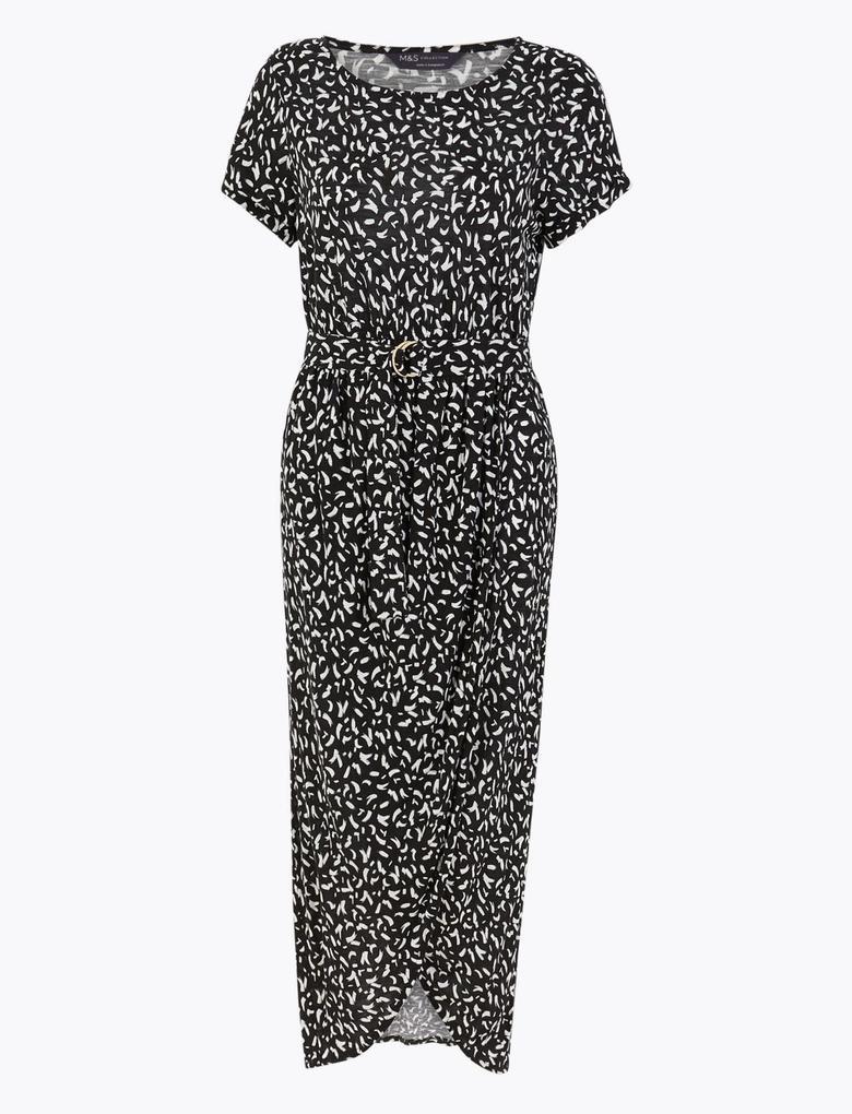 Kadın Siyah Kemerli Maxi Plaj Elbisesi