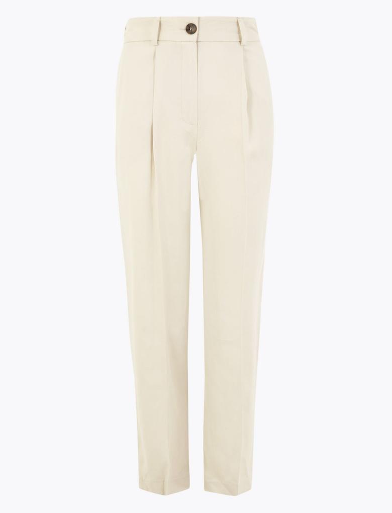 Kadın Gri 7/8 Tapered Crop Pantolon