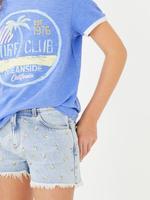 Kız Çocuk Mavi Sloganlı Kısa Kollu T-Shirt