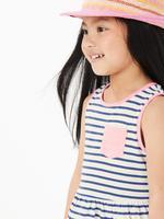 Kız Çocuk Lacivert Çizgili Kolsuz Elbise