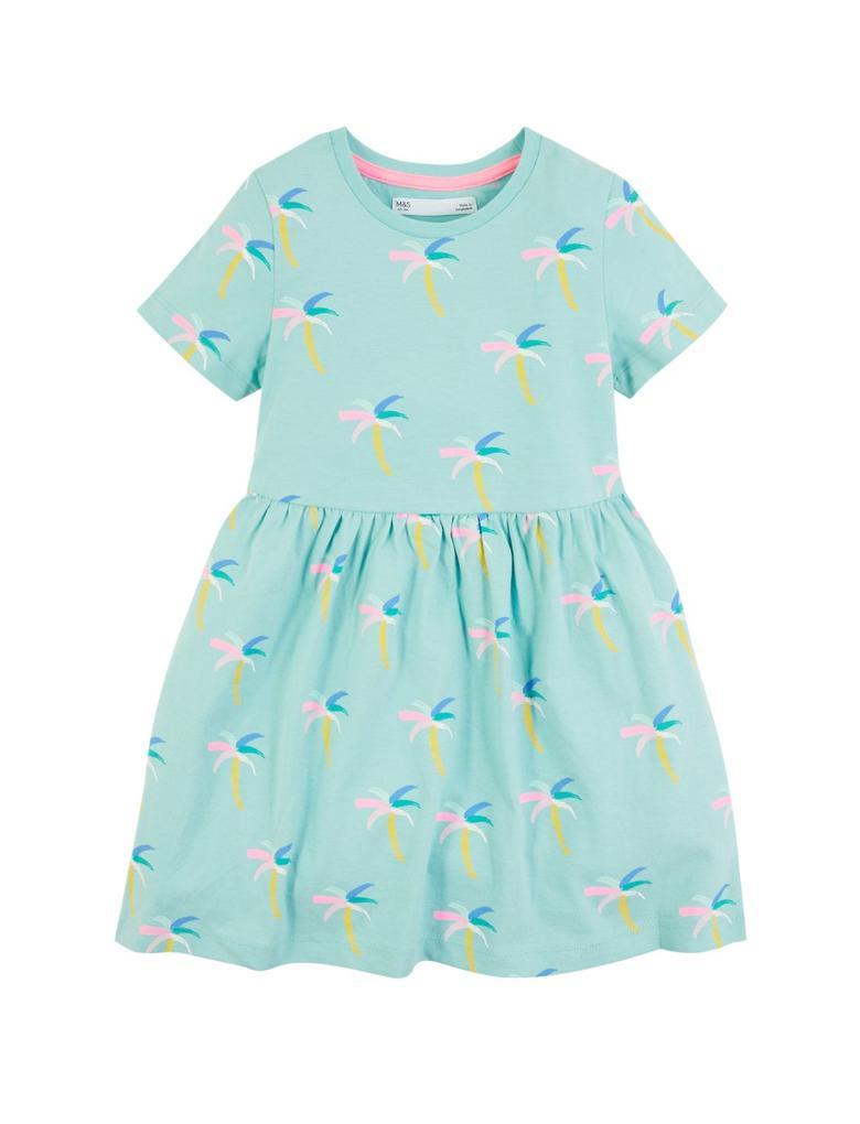 Kız Çocuk Mavi Palmiye Ağacı Desenli Elbise