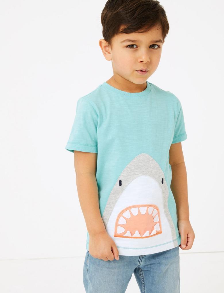 Erkek Çocuk Turkuaz Köpek Balığı İşlemeli T-Shirt